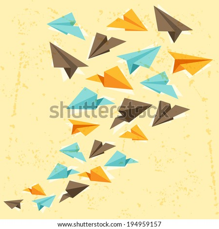 Illustration of paper planes on the grunge background. - stock vector