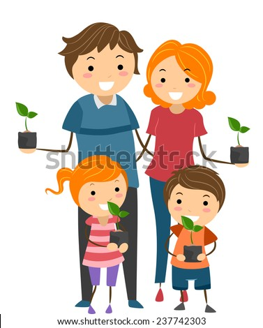 Illustration of Parents and Their Kids Holding Seedlings to Plant in Their Garden - stock vector