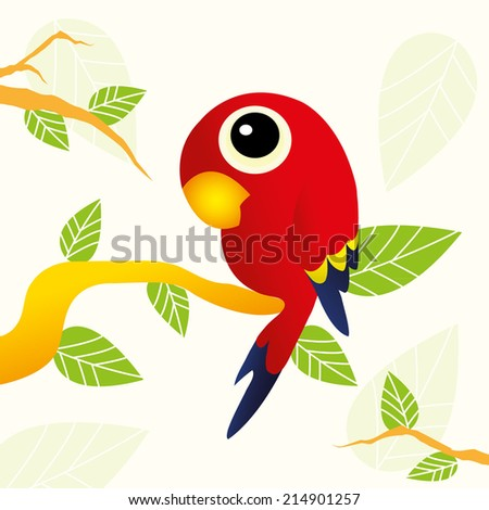 Illustration of  parrot sitting on branch - stock vector