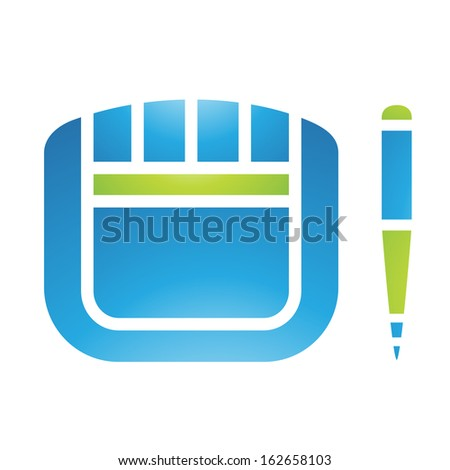 Illustration of PC Accessories Graphic Tablet and Stylus isolated on a white background - stock vector