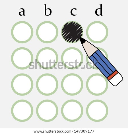 Illustration of pencil fill the circle of answer sheet - stock vector