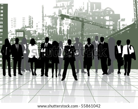 Illustration of people and buildings - stock vector