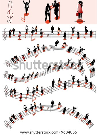 Illustration of people and notes - stock vector