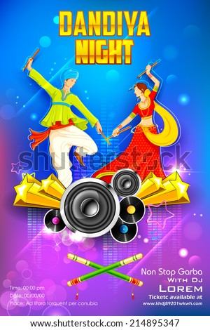 illustration of people dancing on disc in dandiya night - stock vector