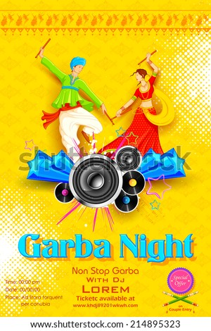 illustration of people dancing on disc in Garba night - stock vector