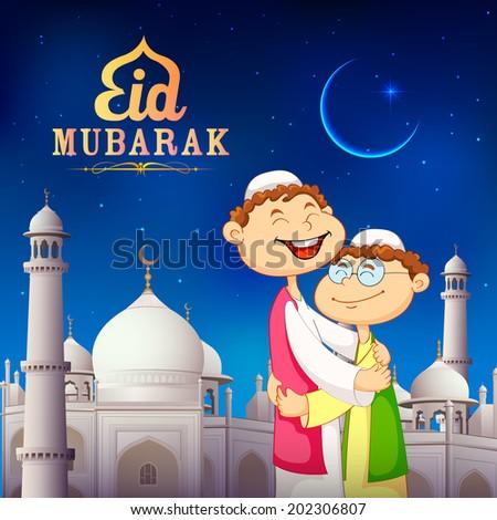 illustration of people hugging and wishing Eid Mubarak - stock vector