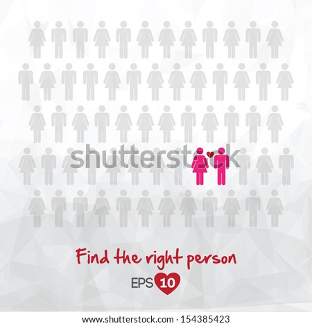 illustration of people icons, find love, vector illustration design - stock vector