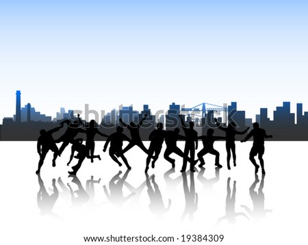 Illustration of people in action and city - stock vector