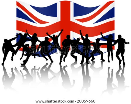 Illustration of people in action and flag - stock vector