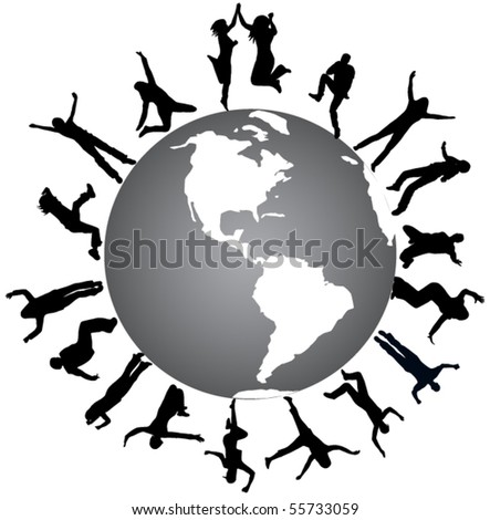 Illustration of people jumping and world - stock vector