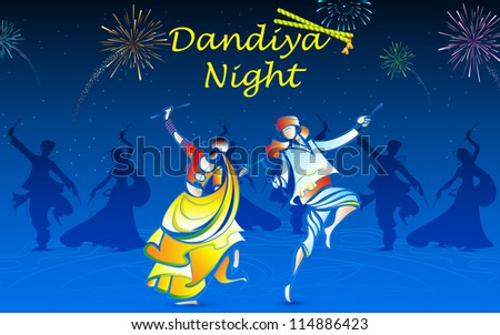 illustration of people playing dandiya in navratri - stock vector