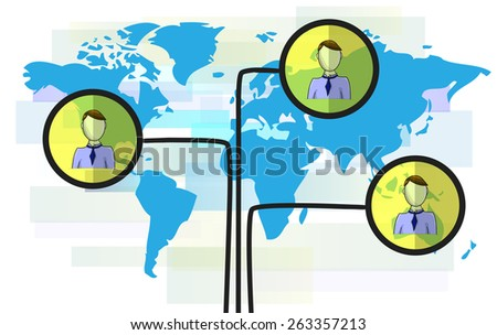 Illustration of persons on blue world map isolated on white background - stock vector