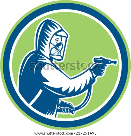 Illustration of pest control exterminator spraying side view set inside circle on isolated background done in retro style. - stock vector
