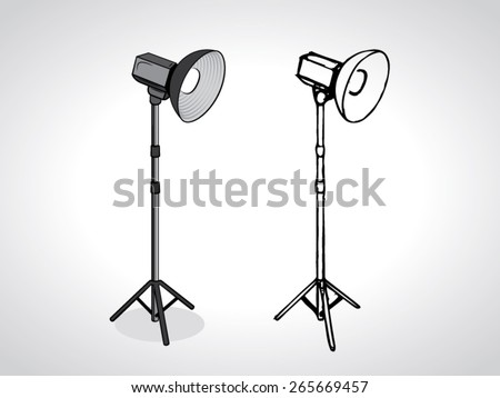 illustration of photo studio beauty dish on stand with a black outline isolated on white - stock vector