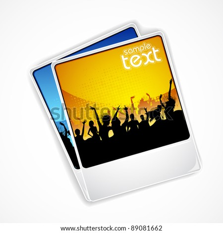 illustration of photograph of cheering crowd at concert - stock vector