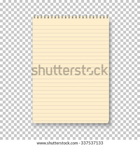 Illustration of Photorealistic Vector Yellow Notepad Isolated on Transparent Background. Yellow Vector Notepad on Spiral Spring - stock vector