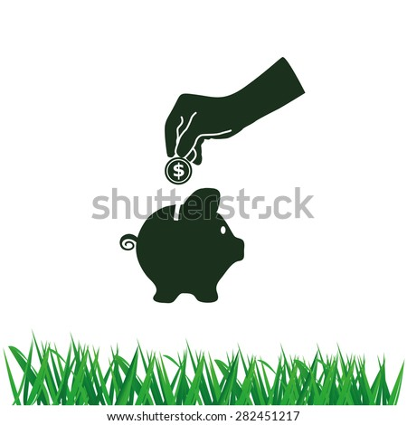 Illustration of piggy bank hand with a coin over it - stock vector