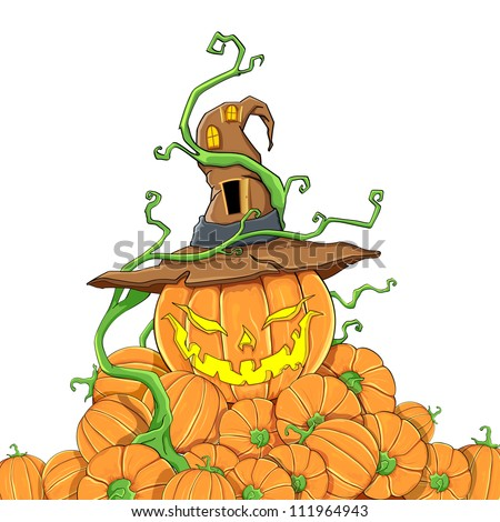 illustration of pile of halloween pumpkin with witch hat - stock vector