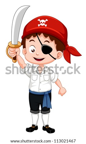 Illustration of pirate boy holding sword - stock vector
