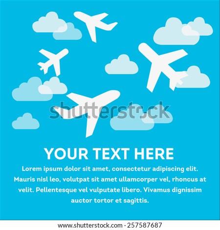 illustration of plane in sky - stock vector