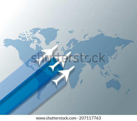 Illustration of planes on world map - stock vector