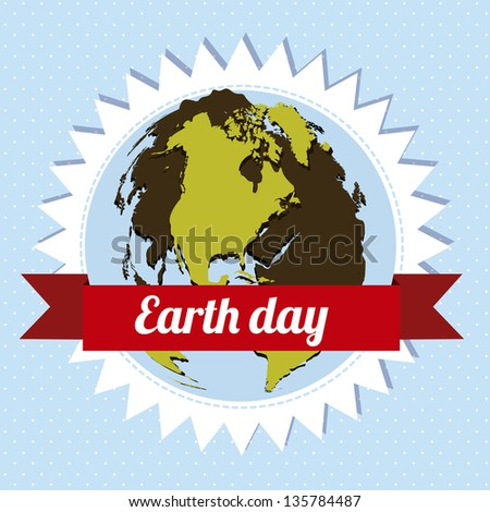 Illustration of planet earth, earth day, vector illustration - stock vector