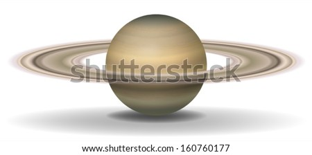 Illustration of planet Saturn on a white background - stock vector