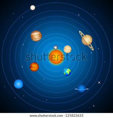 illustration of  planets with sun and moon in solar system - stock vector