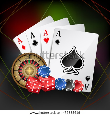 illustration of playing card with poker and roulette - stock vector