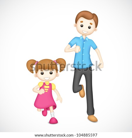 illustration of playing 3d father and daughter in vector fully scalable - stock vector