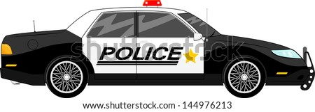 illustration of police car side view isolated on white background - stock vector