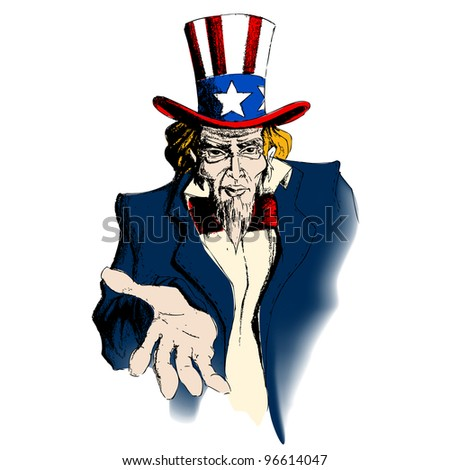 illustration of portrait of Uncle Sam on white background - stock vector