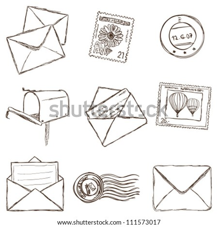 Illustration of postal and mailing icons - sketch style - stock vector