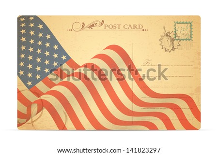 illustration of postcard with American Flag for Independence Day - stock vector