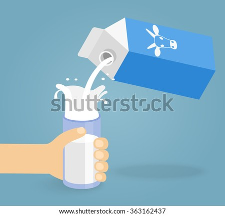 illustration of pouring a glass of milk creating splash - stock vector