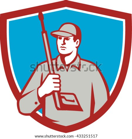 Illustration of power washer worker holding pressure washing gun on shoulder looking to the side viewed from front set inside shield crest on isolated background done in retro style.  - stock vector