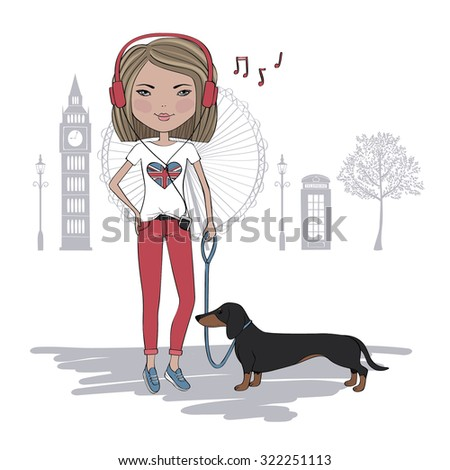 Illustration of pretty girl with dog in London - stock vector