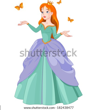 Illustration of Princess with butterflies - stock vector