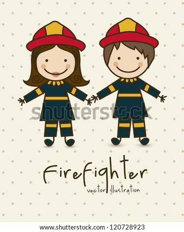 Illustration of professions, icons of  firefighter, vector illustration - stock vector