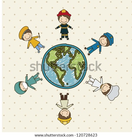 Illustration of professions, police icon, doctor, firefighter, chef, painter, engineer, vector illustration - stock vector