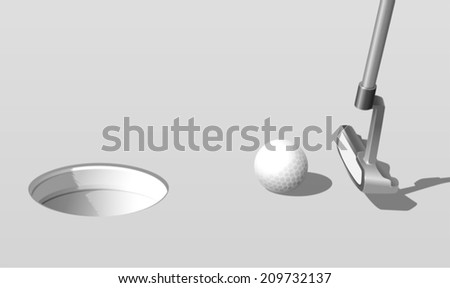 Illustration of putting a golf ball - stock vector