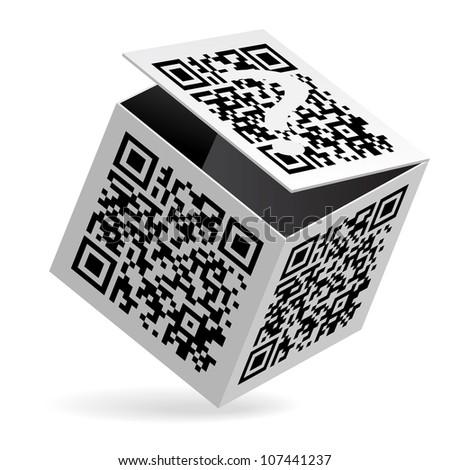 Illustration of QR code on open White Box - stock vector