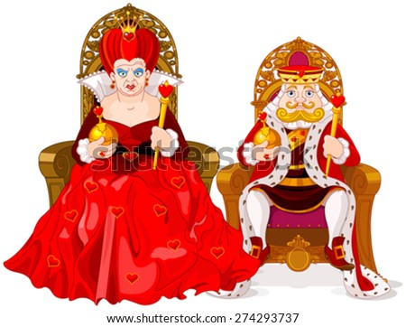 Illustration of queen and king - stock vector