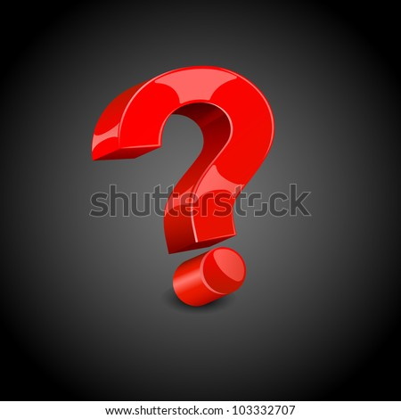 illustration of question mark on abstract black background - stock vector
