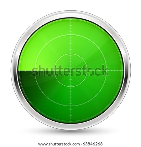 Illustration of radar or oscilloscope monitor - stock vector