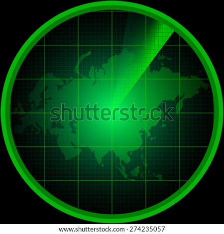 Illustration of radar screen with a silhouette of Eurasia - stock vector