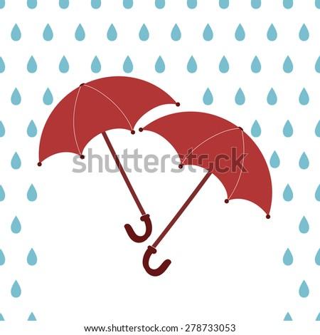 Illustration of raining and two umbrellas - stock vector