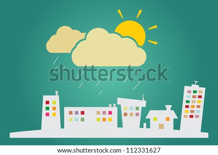 Illustration of Raining in city or can be used as advertising real estate services. - stock vector