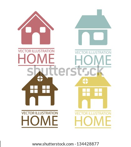 Illustration of real estate icon, conceptual icon with house, vector illustration - stock vector