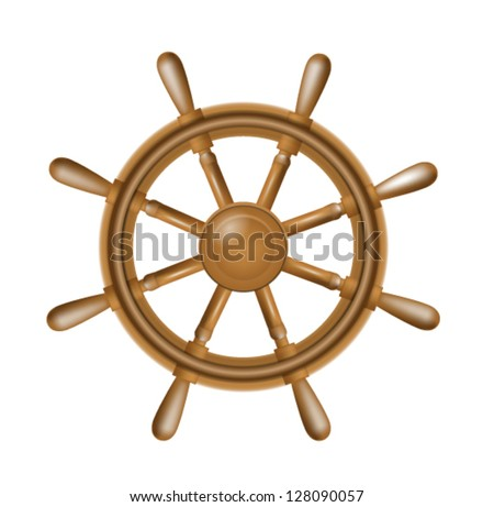Illustration of realistic antique steering wheel for ship isolated on white background - stock vector